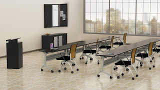 Flip-N-Go Silver Base Training Tables by Mayline
