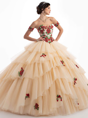 Dark Champagne/Red Color Mary's Quinceanera Ball Gown Design dress