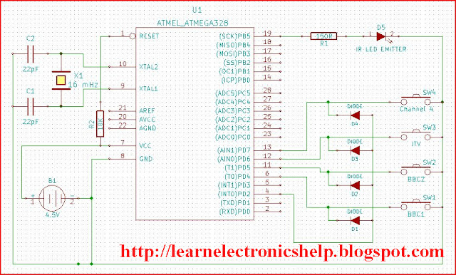 tv remote circuit diagram learn basic electronics. Black Bedroom Furniture Sets. Home Design Ideas