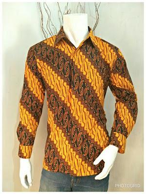 Kemeja Batik Pria Sogan Batik Solo Motif Parang Gede
