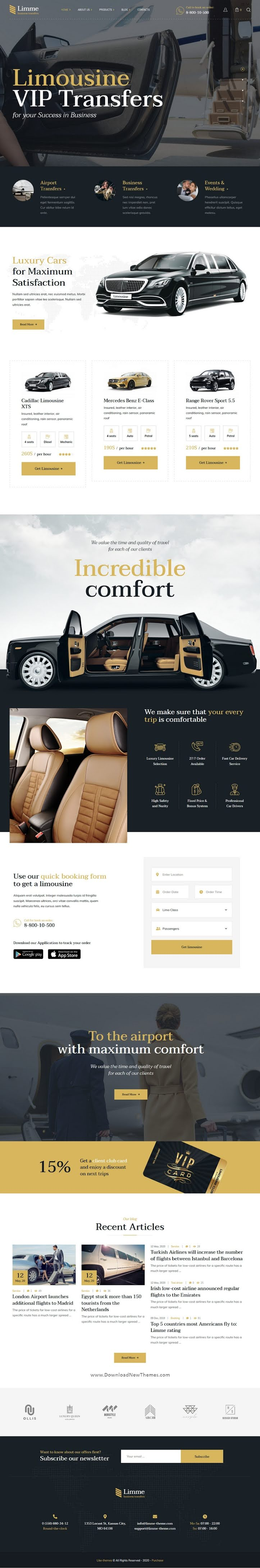 Limousine Transfers WordPress Theme