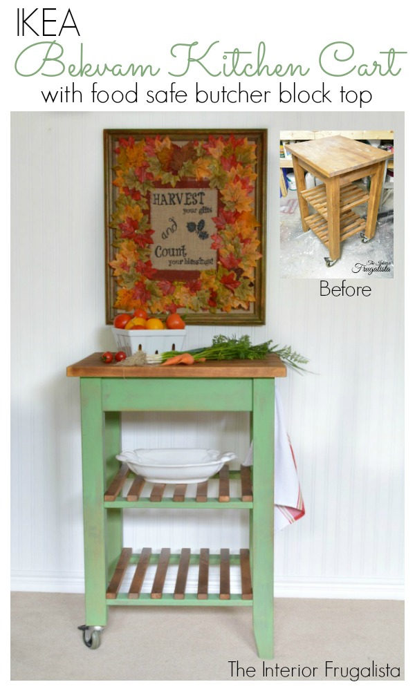 IKEA Bekvam Kitchen Cart Makeover Before and After