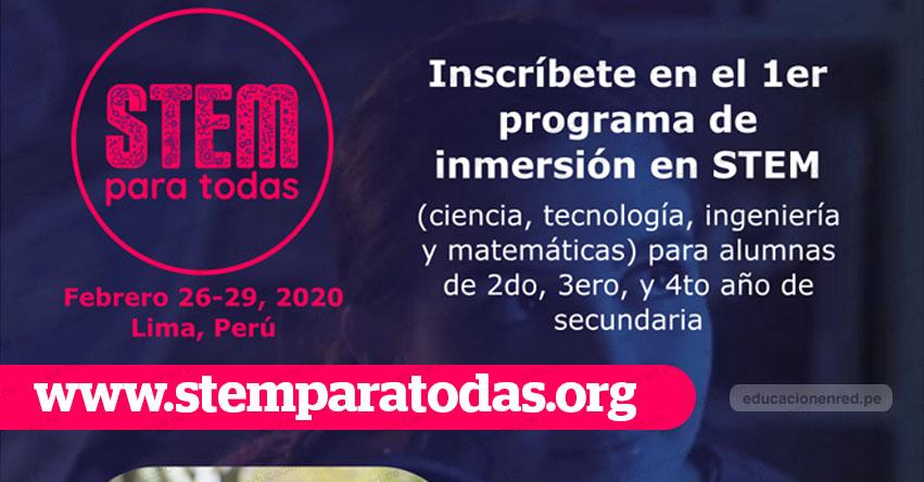 Las escolares de Lima Metropolitana y Callao pueden postular al STEM Para Todas 2020