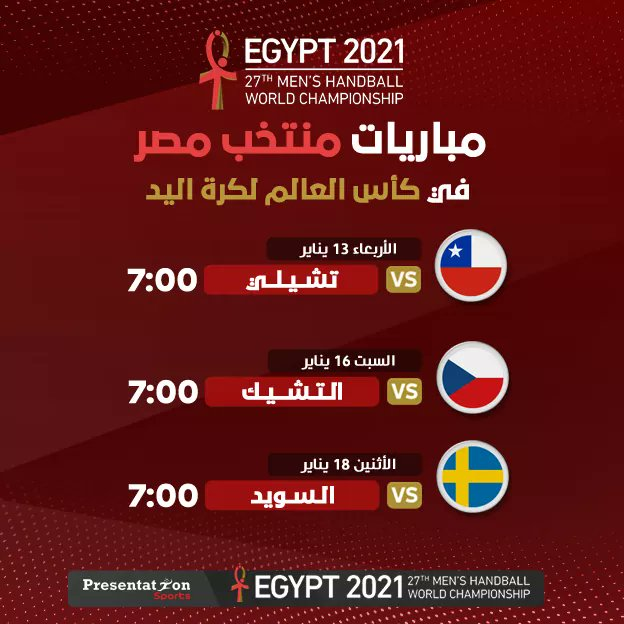 مباريات منتخب مصر فى كأس العالم لكرة اليد 2021