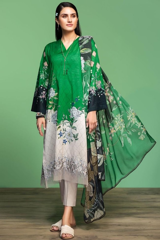 Nishatlinen Embroidered Green Lawn Suit