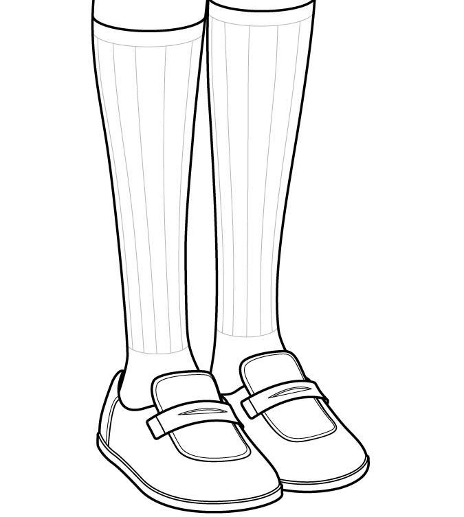 Menggambar detail sepatu dan kaus kaki gadis anime