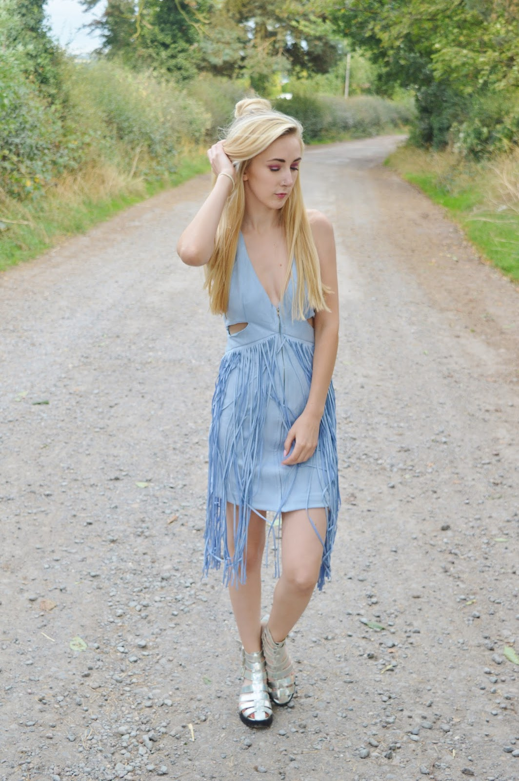 Blue Faux Suede Dress