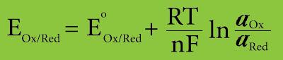 معادلة القوة المحركة الكهربائية EMF للخلية الغلفانية