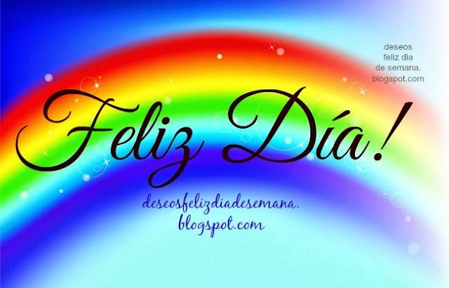 bonita imagen de feliz dia con un arcoiris