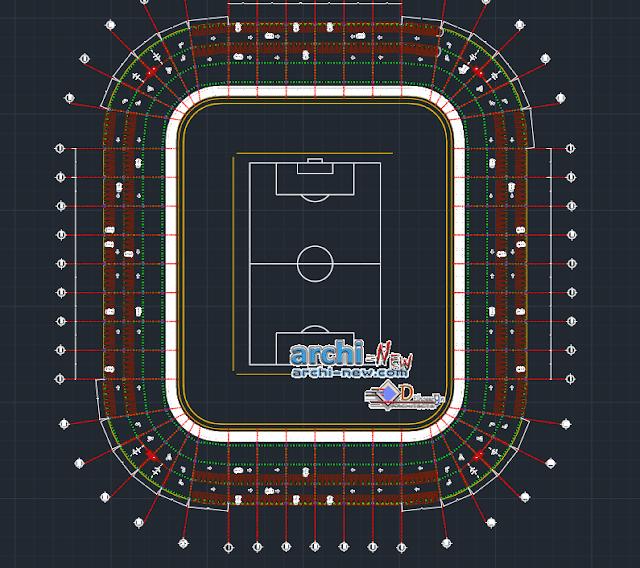 Football stadium in AutoCAD