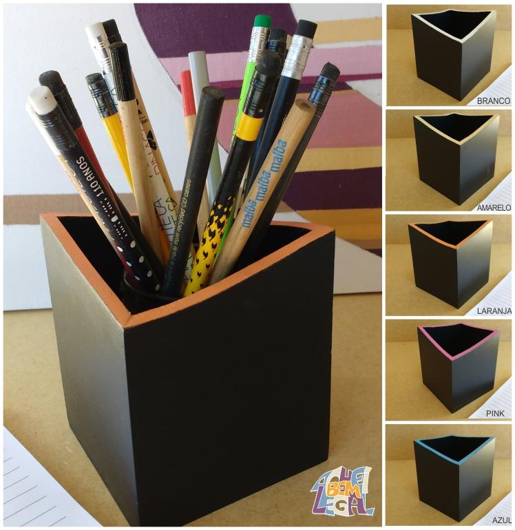 porta-lápis preto com borda colorida e formato em ângulo