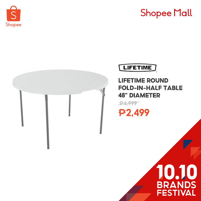 "Lifetime Round Fold-in-Half Table 48"" Diameter at 50% Off on Shopee's 10.10 Brands Festival"