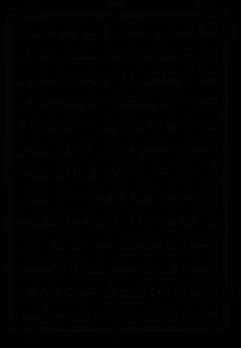 Quran Para 9 (Qal al mala) 9th Para Recite Online and PDF