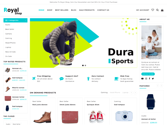 Royal Shop | Top 10 Best Free Ecommerce Themes For WordPress Online Store
