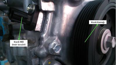 motor devir ve üön sensörü krank kasnağı