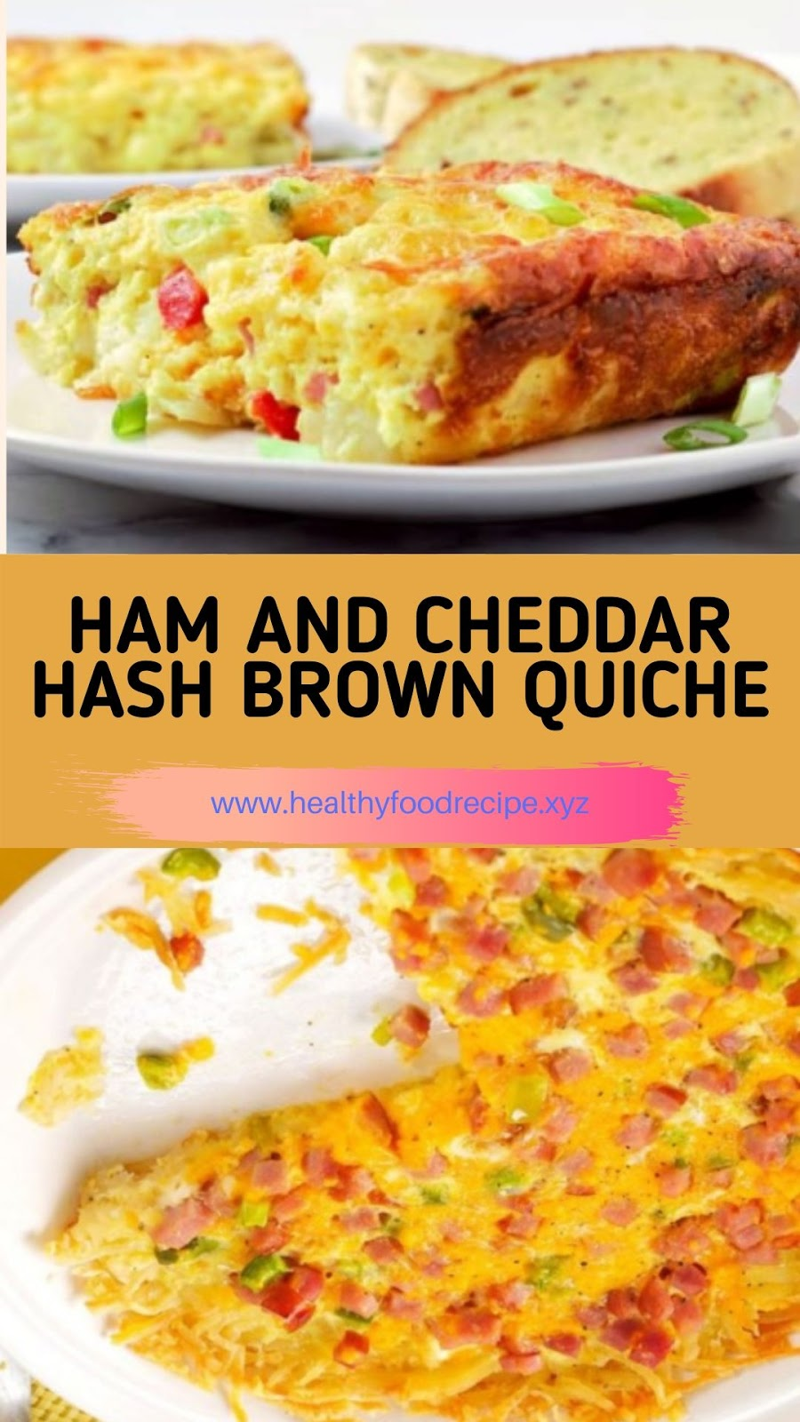 HAM AND CHEDDAR HASH BROWN QUICHE