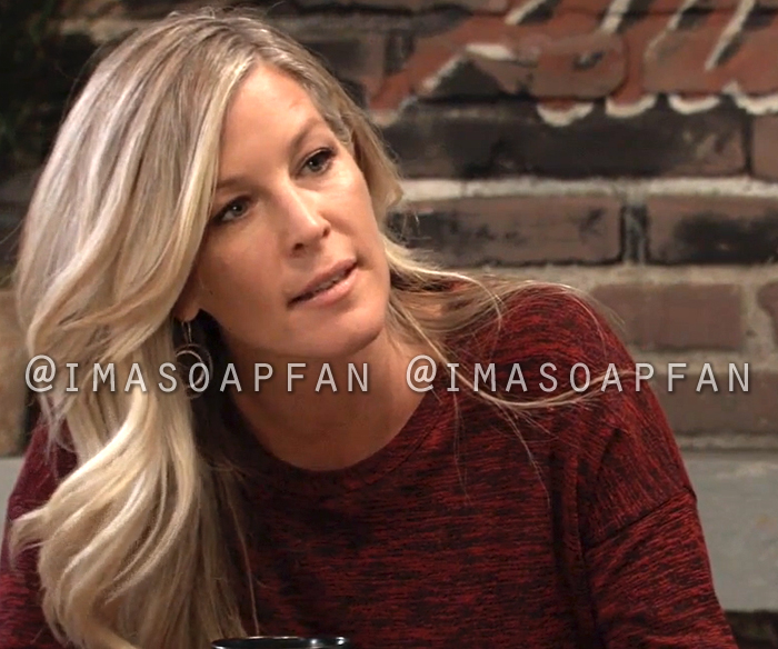 Carly Corinthos, Laura Wright, Dark Red and Black Marled Long Sleeve Tee, General Hospital, GH
