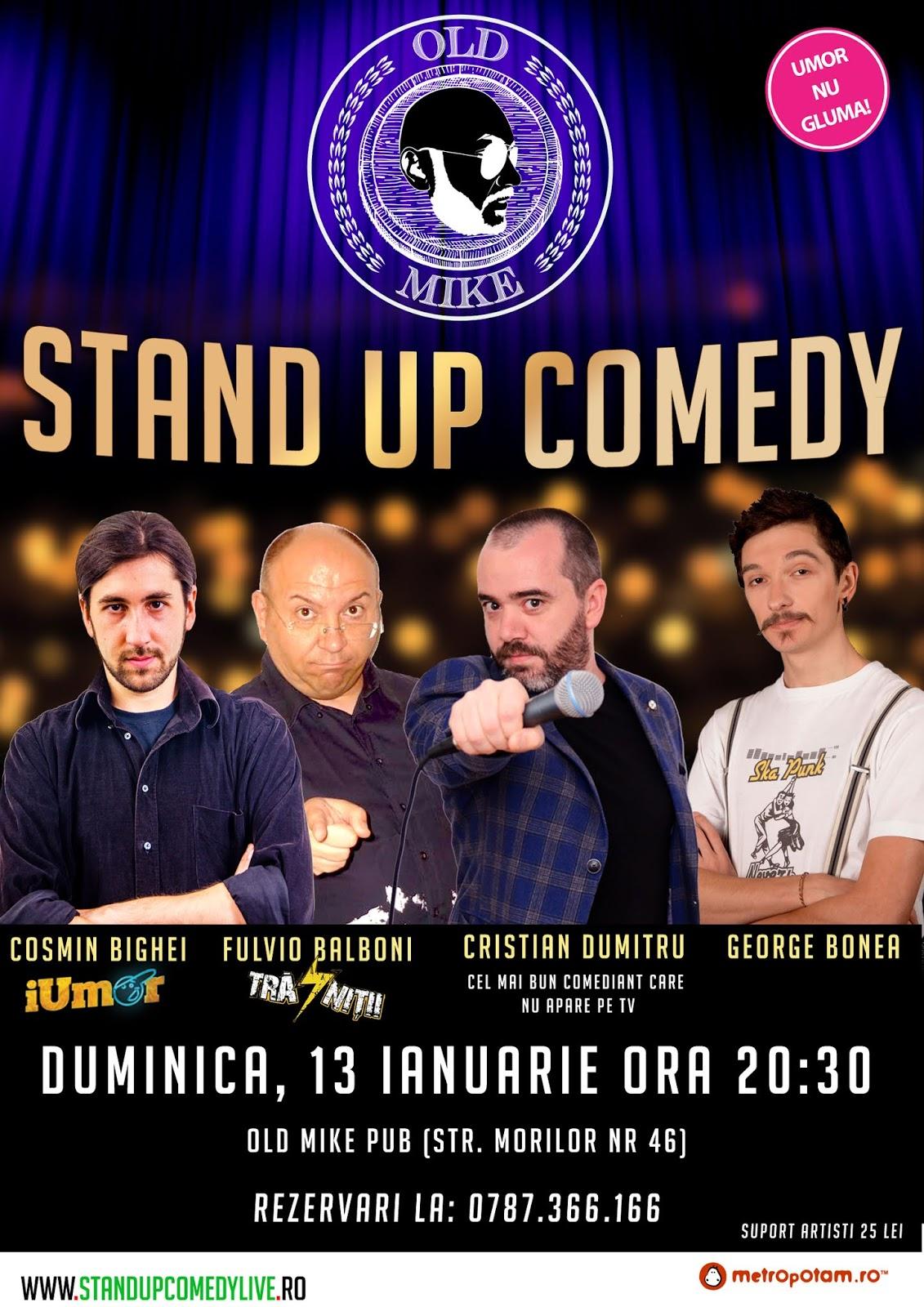 Stand-Up Comedy Bucuresti Duminica 13 Ianuarie 2019