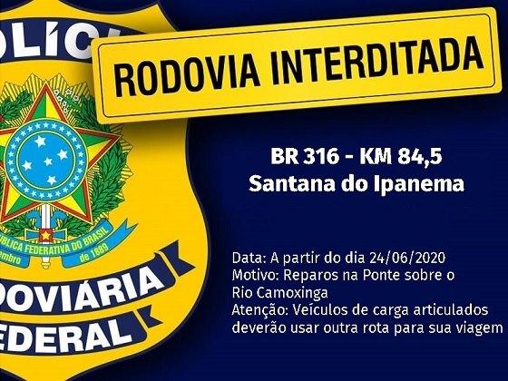 Em Santana do Ipanema; PRF vai interditar nesta quarta-feira, 24,  trecho da BR-316 para reparos de ponte