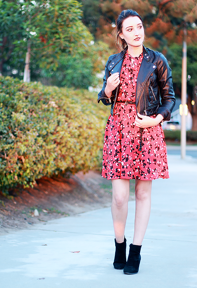 A Good Hue Style: Banana Republic Floral Dress with Faux Leather Jacket