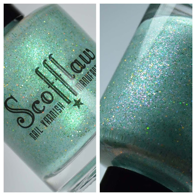 blue jelly nail polish with shimmer