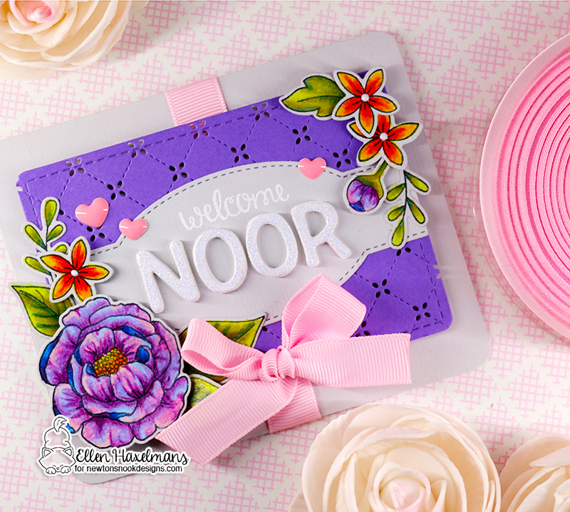 Floral Pencil Coloring Tutorial Card by Ellen Haxelmans | Peony Blooms and Lovely Blooms Stamp Sets by Newton's Nook Designs #newtonsnook #handmade