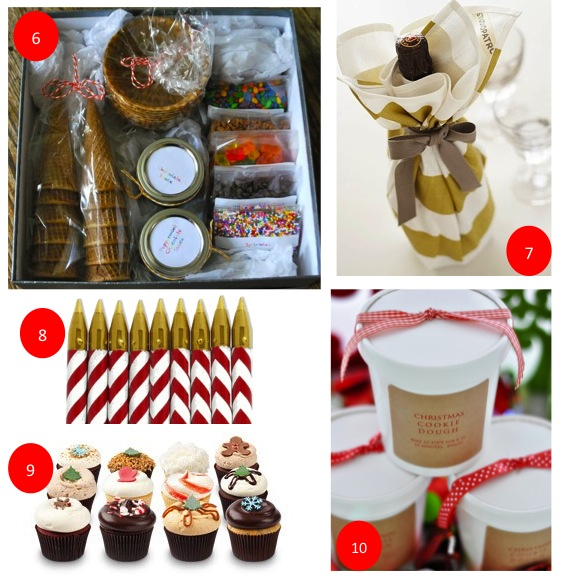 1-Pink Himalayan Salt, 2-Chalkboard Message Board, 3-Quick Bread in a Jar, 4-Chai Candle, 5-Iomi Frames, 6-Make Your Own Sundae Kit, 7-Wine in a Chevron ...