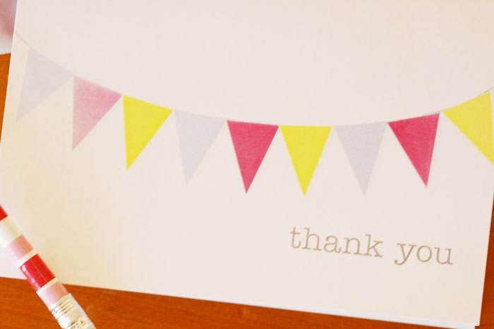 Bunting Thank you card by 74 Lime Lane