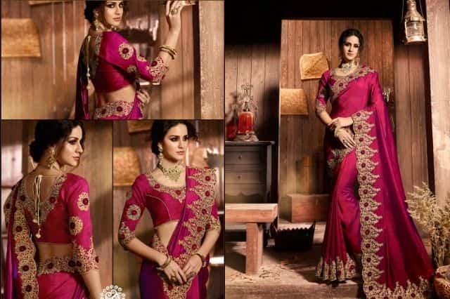 Georgette designer sarees with designer blouse material
