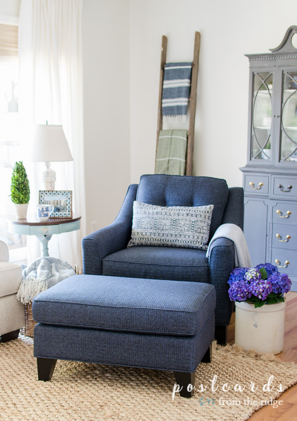 indigo blue chair and ottoman from rooms to go