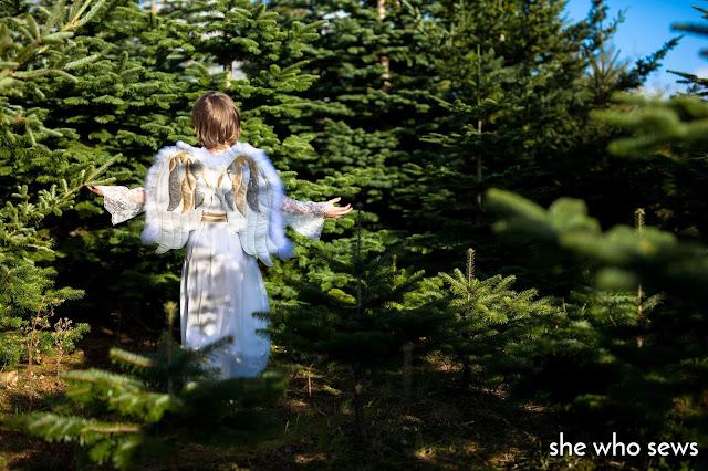 Girl dressed up as Christmas Angel