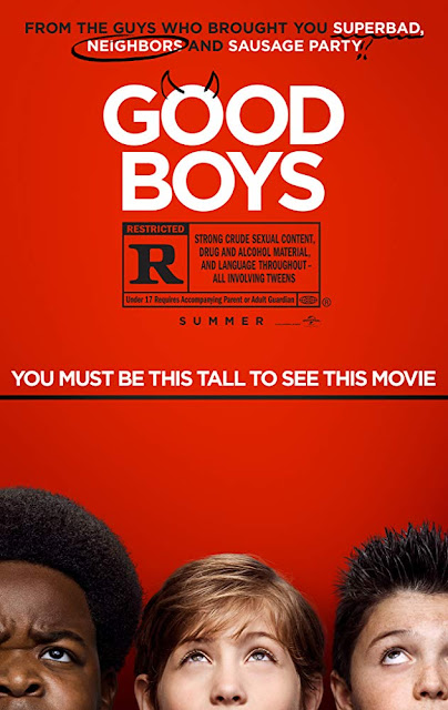 Movie poster for Universal Pictures's 2019 comedy Good Boys, starring Jacob Tremblay, Brady Noon, Keith L. Williams, Molly Gordon, Sam Richardson, and Will Forte