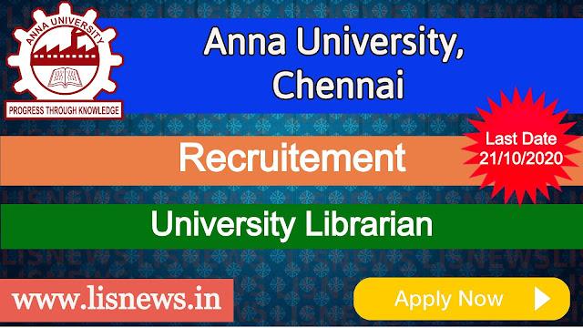 University Librarian at Anna University, Chennai