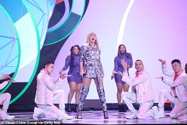 Taylor Swift performs at Alibaba's global shopping festival in Shanghai