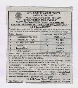 @ Apfdrt.org - Ap Forest Beat Officer , Assitant Jobs Notification 2014