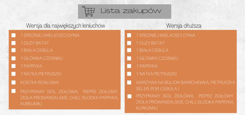 lista zakupów, lista zakupowa, zakupy, gotowanie, przepisy, przepiśnik, zupa dyniowa