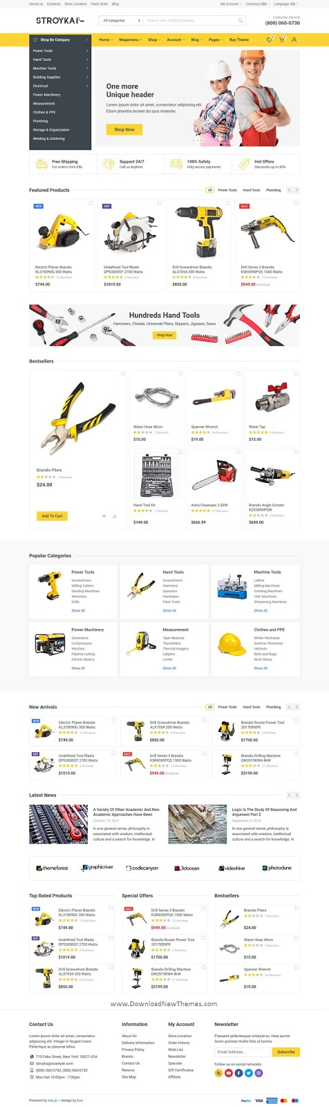 Download Tools Store eCommerce Template