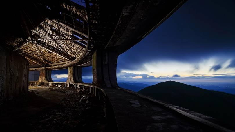 Observation deck of the Buzludzhi monument, Bulgari. The breathtaking view is one of the attractions.
