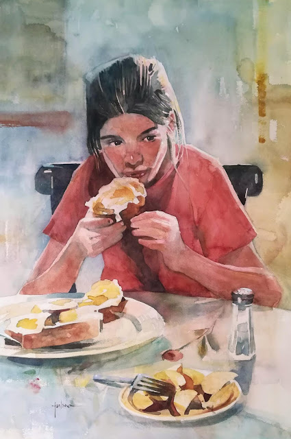 Francesco Fontana American Breakfast (with Flora)   2018, studio watercolor on paper, 11 x 16 inches,