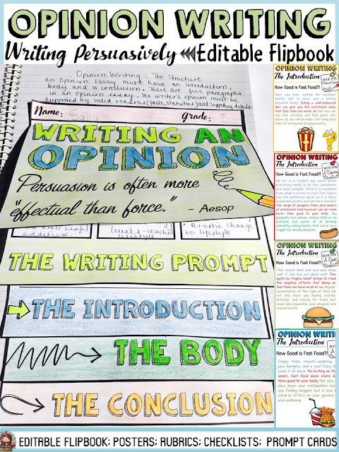 opinion writing/ persuasive writing flipbook