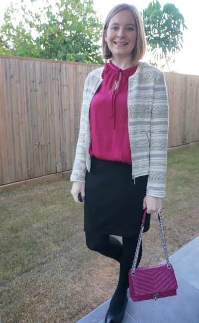 jacquard blazer and berry jewel toned frankie jeanswest blouse black pencil skirt magenta edie bag | away from blue