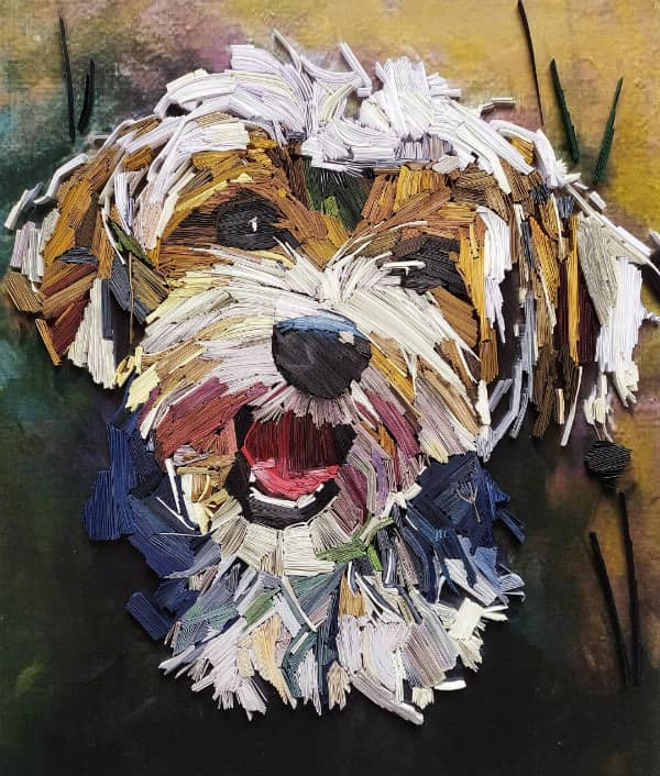Quilled Havanese dog portrait