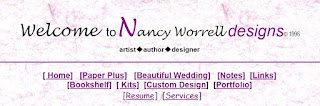 Title page of Nancy Worrell designs in 1996