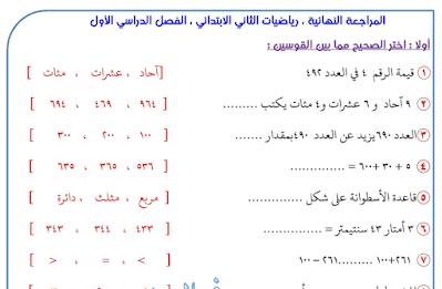 المراجعة النهائية في مادة الرياضيات