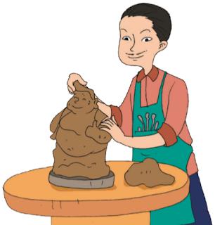 Patung Nusantara terbuat dari tanah liat. Patung-patung tersebut sangat diminati, baik oleh wisatawan lokal maupun mancanegara. Ayo, kita praktikkan membuat patung Nusantara dari tanah liat.