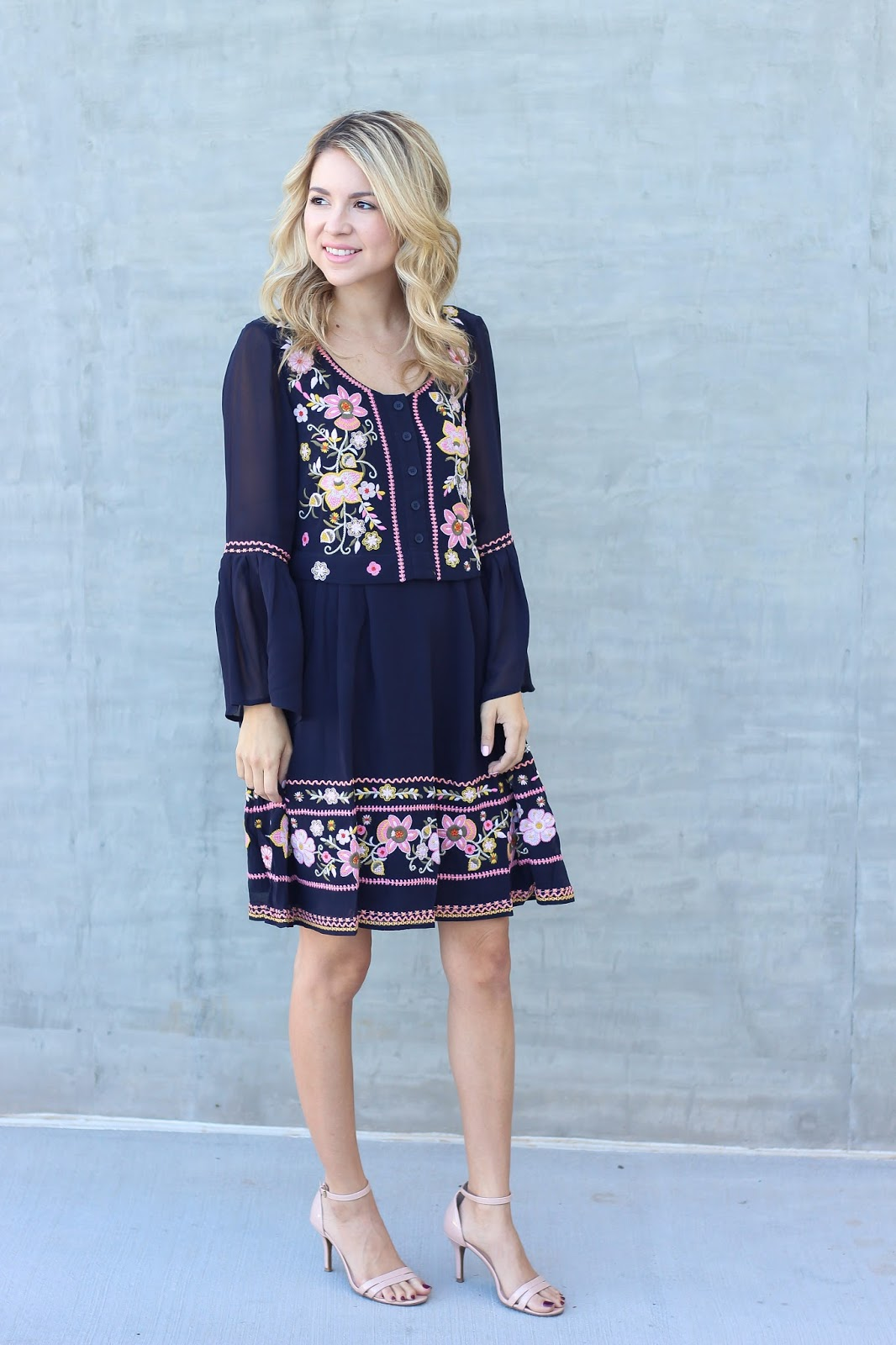 Embroidered dress, blue, style