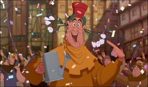 Quasimodo acting silly The Hunchback of Notre Dame 1996 animatedfilmreviews.blogspot.com