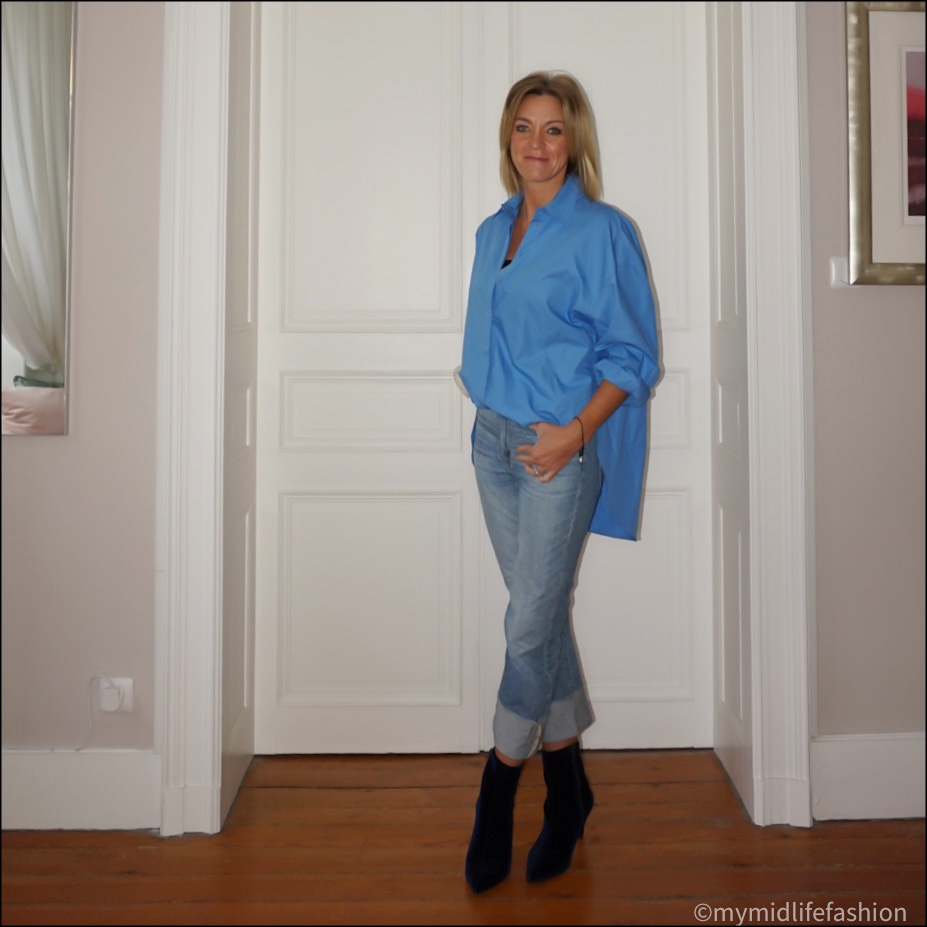 my midlife fashion, zara poplin oversized shirt, j crew straight leg boyfriend jeans, marks and Spencer stiletto heel ankle boots