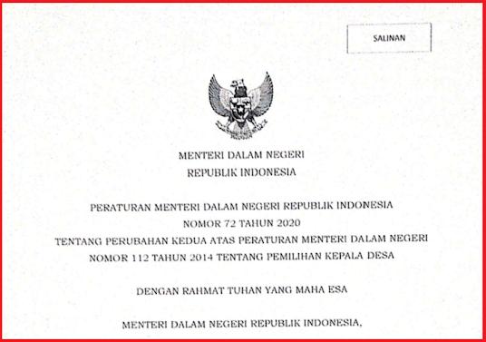 Download Permendagri Nomor 72 Tahun 2020 tentang perubahan kedua atas Permendagri 112 Tahun 2014 tentang Pilkades  Peraturan Menteri Dalam Negeri Republik Indonesia Nomor 72 Tahun 2020 tentang perubahan kedua atas Peraturan Menteri Dalam Negeri Nomor 112 Tahun 2014 tentang Pemilihan Kepala Desa