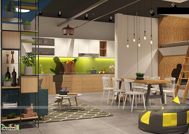Khu vực bếp hoàn chỉnh giống như một căn hộ bình thường, nơi nấu những món ăn ngon để tiếp thêm năng lượng khi chạy Deadline - Thiết kế và thi công nội thất căn hộ chung cư Officetel